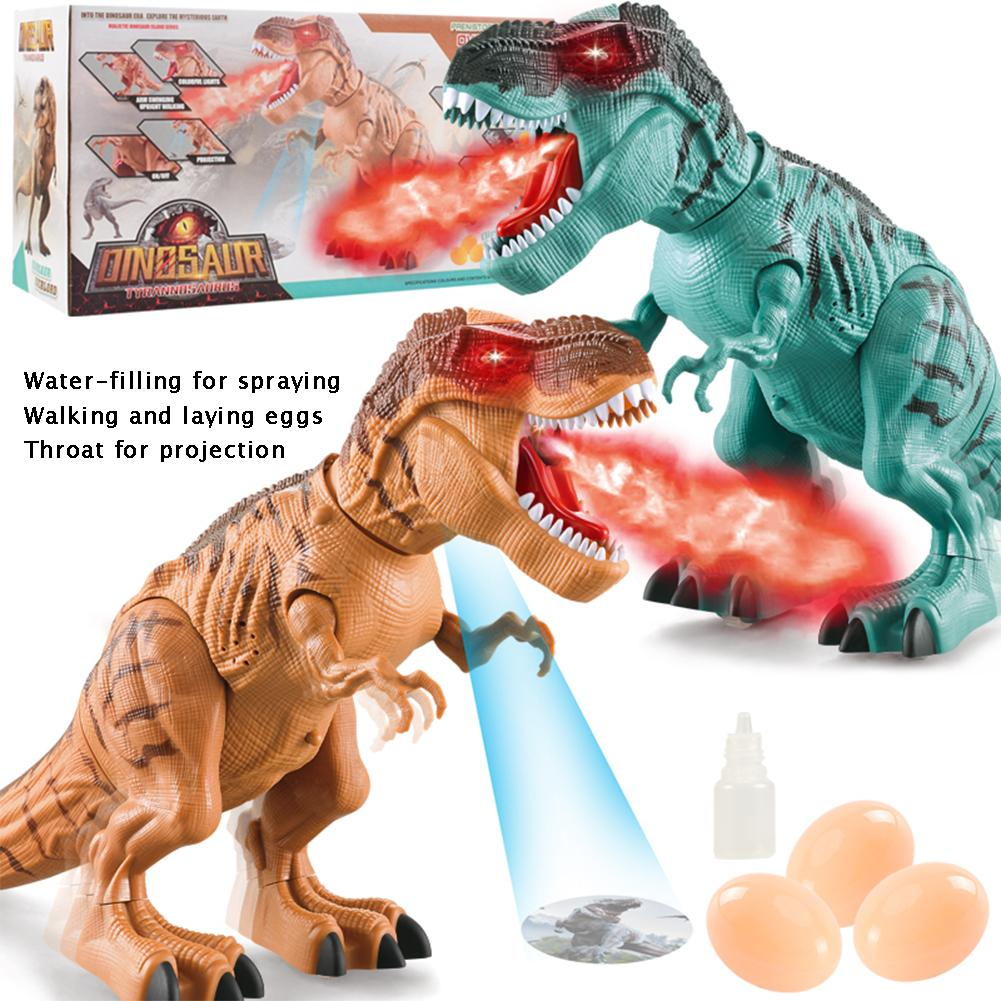 Electric Walking Dinosaur Toy Flame Spray Tyrannosaurus Rex With Roaring Sound And Projecting Light Red Dragon Model Gift