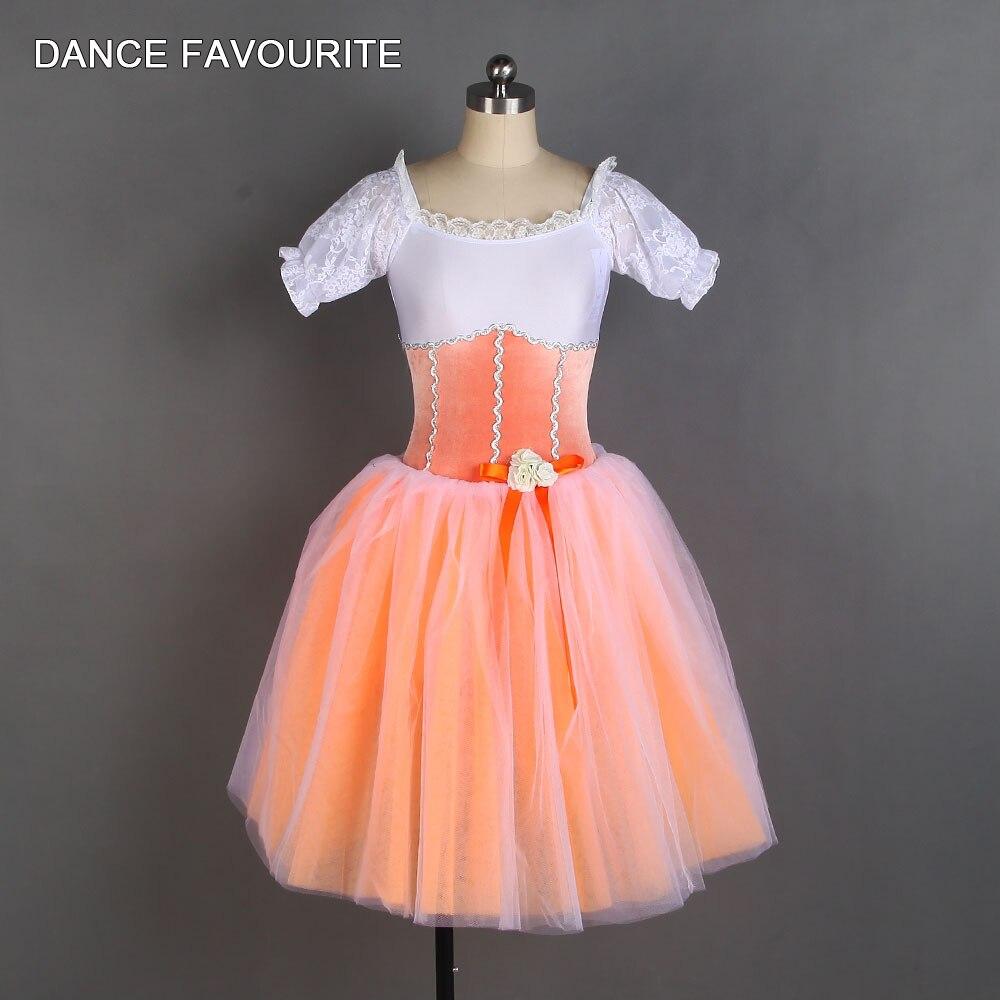 20161  Orange Velvet Bodice Mid Length Romantic Tutu Girl & Women Stage Performance Dance Costume New Arrival Dance Tutu