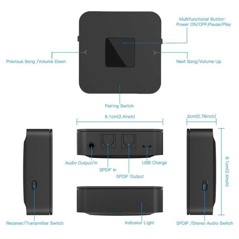 Przenośny Bluetooth 5.0 CSR8670 Aptx krótki czas oczekiwania 3.5Mm RCA SPDIF optyczny nadajnik-odbiornik bezprzewodowy Audio muzyka adapter tv