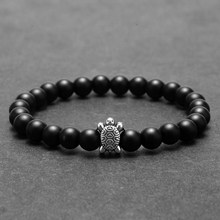 Natural Stone Beads Bracelet for Men Tortoise Accessories Gold Charm Women's Bracelets Wristband Friends Couple Bracelet Gifts(China)