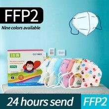 Ffp2 máscara criança 5 camadas ffp2 máscaras 3-13 anos de idade desenhos animados masque meninos meninas ffp2 crianças ffp2 máscara de proteção de segurança ffp2 máscara