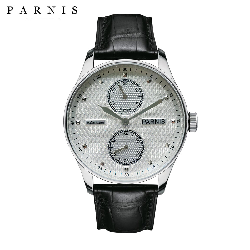 43mm Parnis Automatic Mens Watch Power Reserve Mechanical Watches Classic Men Wristwatch Top Brand Luxury relogio masculino 2019