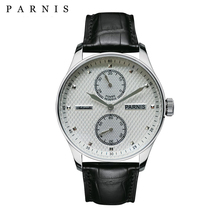 43mm Parnis Automatic Mens Watch Power Reserve Mechanical Watches