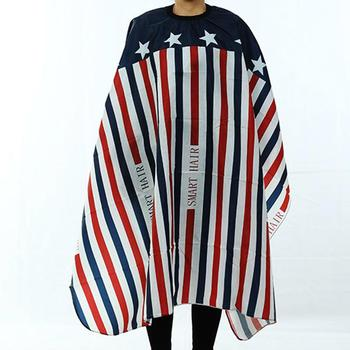 Adults Anti-static Stripe Star Letter Print Hair Cut Gown Home Salon Cape Apron Hairdressing Wrap For Haircutting peluqueria popular salon barber hairdressing gown with snap button neck finished hair cape anti static fashion design hot sell stylist wrap