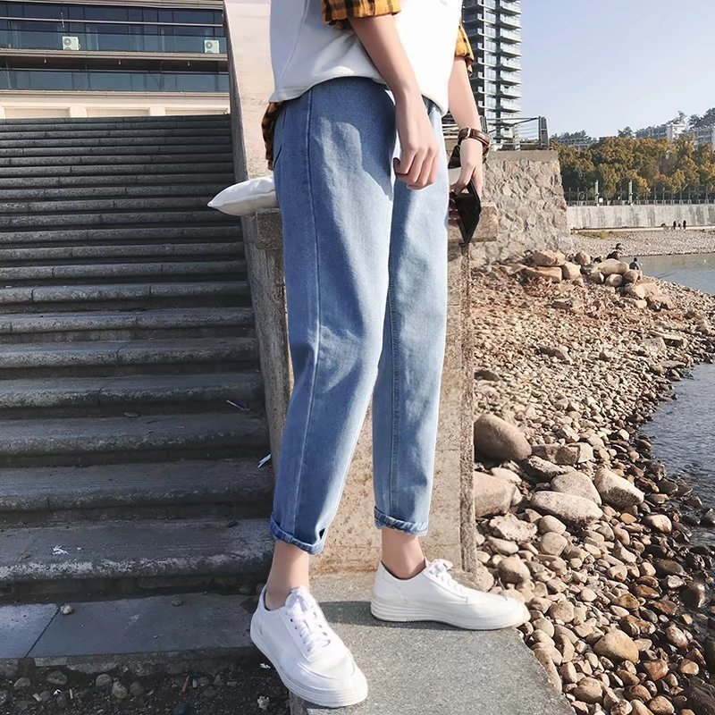Summer New Style Hong Kong Style Trend Capri Jeans Men's Korean-style Loose Thin Versatile MEN'S Pants