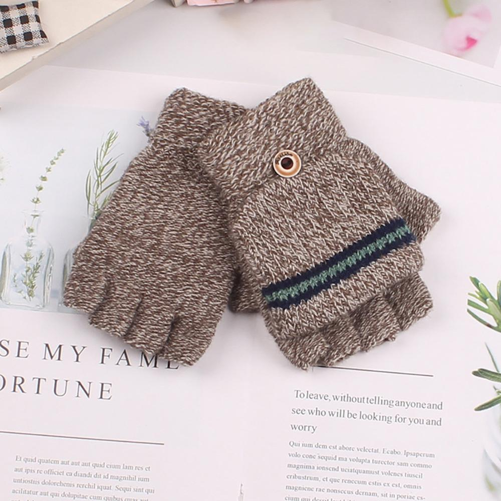 Children's Gloves Autumn Winter Big  Half Finger Knit Gloves Fashion AB-yarn Boy Outdoor Unisex Simple Cute Gloves