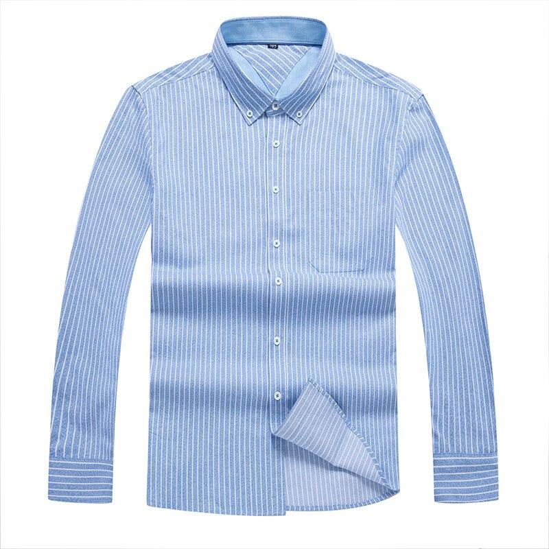 Big Large Size 10XL 8XL 6XL 5XL 4XL Fashion Men Loose Fit Long Sleeve Shirt Casual Business Shirt Tops Plus Size Striped Cotton