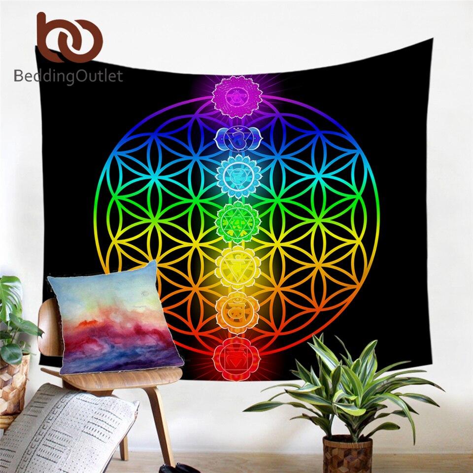 Rainbow 7 Chakra Mandala Bohemia Blanket Tapestry Summer Beach Yoga Mat DEN