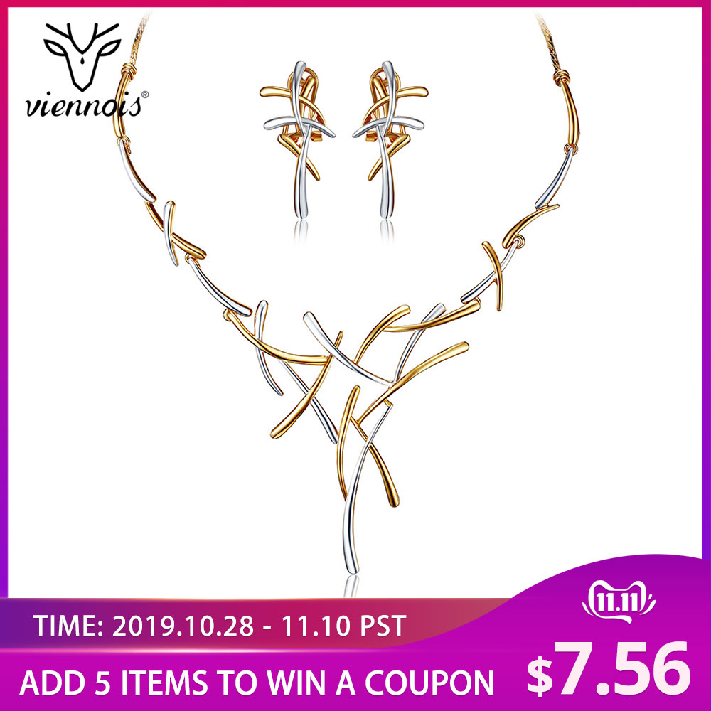Hot Viennois Silver/Gold/Gun Color Metallic Earrings Statement Cross Jewelry Set for Women Punk Style Female Party Jewelry 2019