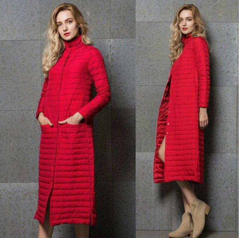 Image 5 - Удлиненное пальто, женский длинный серый жакет, серая верхняя  одежда, ультралегкое удлиненное пальто на осень зиму с воротником  стойкой, повседневное теплое пальто YD 13Пуховые пальто   -