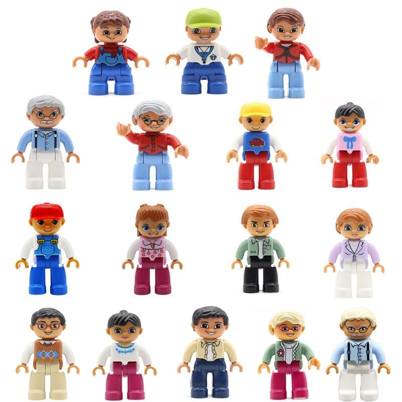 Família modelo personagem grande blocos de construção acessórios tijolos compatíveis figura original casa boneca brinquedos para crianças
