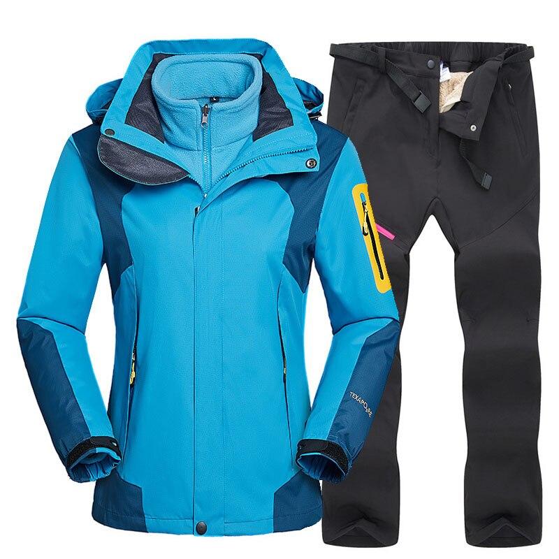 Combinaison de Ski pour femme veste de Ski épaisse et chaude pantalon extérieur coupe-vent imperméable combinaison de randonnée vêtements de neige combinaison de Ski pour femme