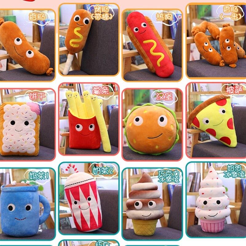 Simulation Fast Food Pillow Milky Tea Chip Pizza Ice Cream Plush Toy Cute Cushion Kawaii Soft Stuffed Super Quality Child Gift