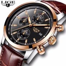 LIGE Mens Watches Top Brand Luxury Leather Casual Quartz Watch Men Military Spor