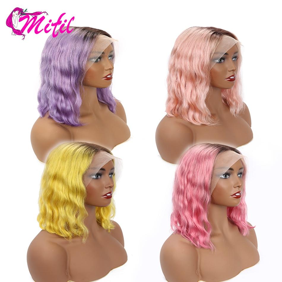 Mifil 13x4 Remy Brazilian Water Wave Wig Short Bob 613 Lace Frontal Wig 1b Neon Purple Innrech Market.com