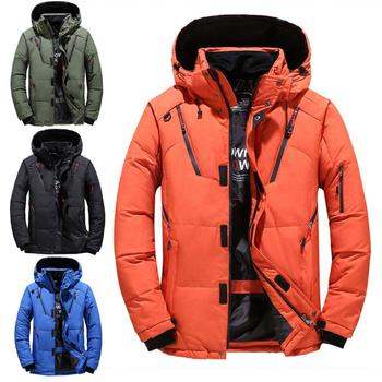 Men Winter Warm Thicken Slims Fit Short Down Jacket Zipper Hooded Outwear Coat Solid color cotton suit with zipper and hood