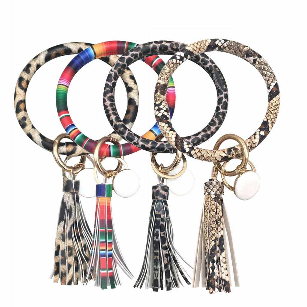 Fashion Trend Simple Large Leather Bracelet Tassel Keychain Jewelry