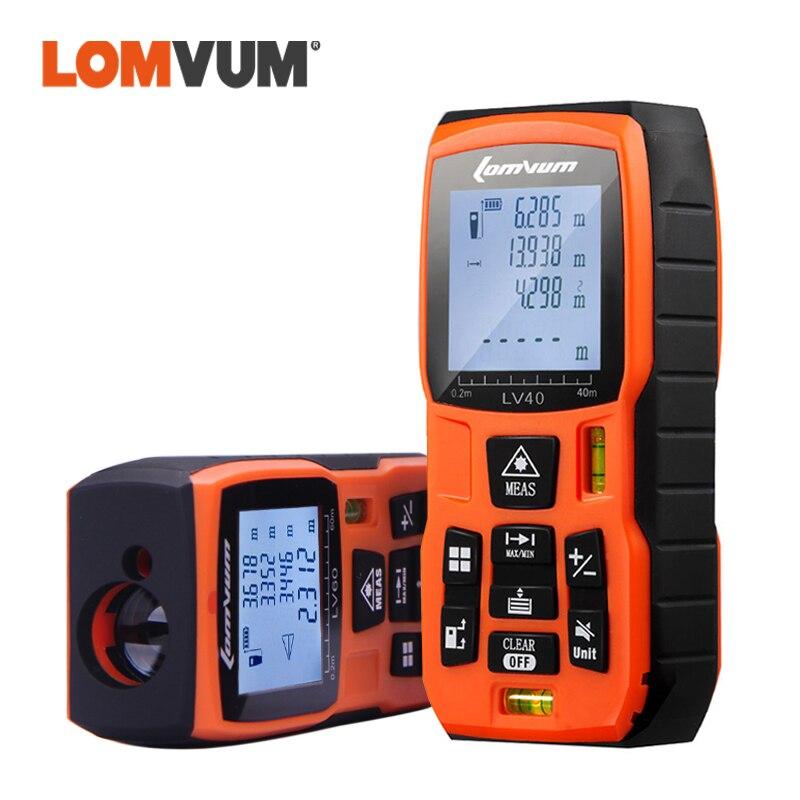 LOMVUM Laser Distance Meter Digital Level Bubbles Laser Rangefinder Battery-Powered Handheld Tape Distance Measurer 40M 50M 60M