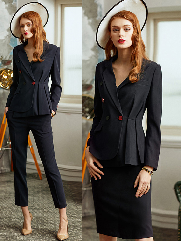 Women S Office Suits Set Professional Female Business Lady Suit Plus Size Black Blazer Pant Designer Tailor 2019 Free Ship