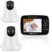 3.5HD Wireless Baby Monitor With Two Digital Camera IR Night Vision Intercom Nanny Video Baby Monitor Support lens switching wireless monitor night vision digital video baby monitor audio music camera temperature nanny monitor free shipping