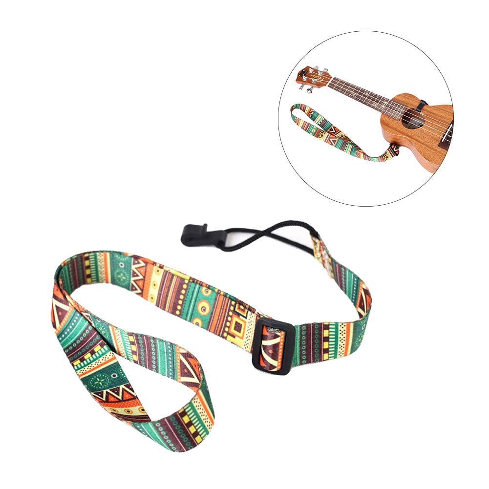 National Style Ukulele Straps No Drilling Printed Clip On Ukulele Strap Adjustable Colorful Ukulele Belt Little Guitar Strap Ins