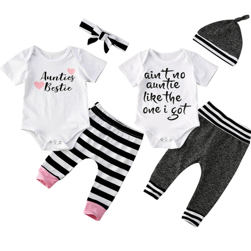 Baby Boy Girl Clothes Kids Short Sleeve T-shirt Tops Pants Set Outfit Clothes