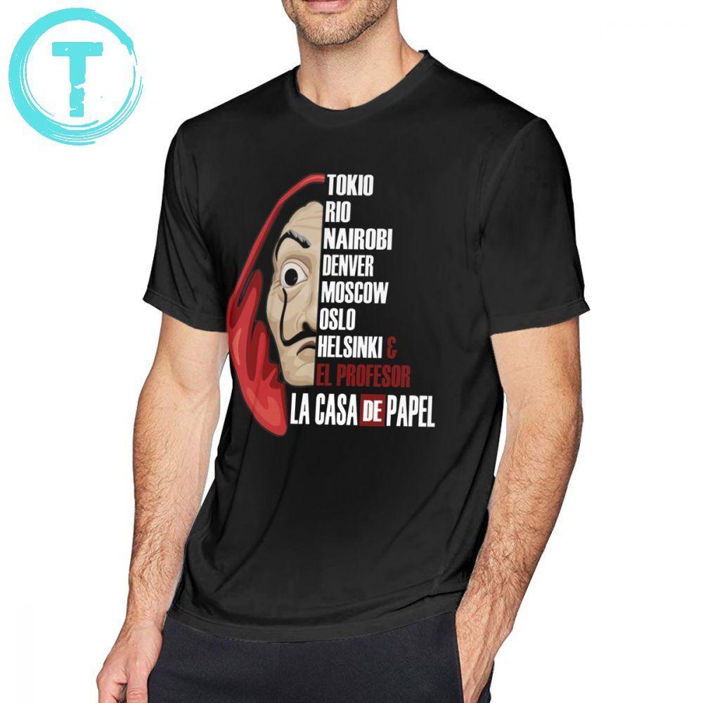 Dinheiro Assalto Camiseta La Casa de Papel T-Shirt Bonito do Homem Camiseta Streetwear Impresso Mangas Curtas Big Algodão Tshirt