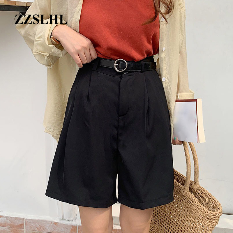Summer Korean Women Sashes Loose Shorts Casual Female High Waist Button Fly Shorts Vintage Mujer Solid Empire Sexy Mini Shorts