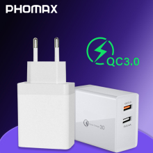 цена на PHOMAX  Charger USB 3.0 240V Fast phone Charger for iPhone X xs 8 7 iPad Samsung Galaxy s8 s9 s10 Galaxy HTC Xiaomi Huawei Nexus