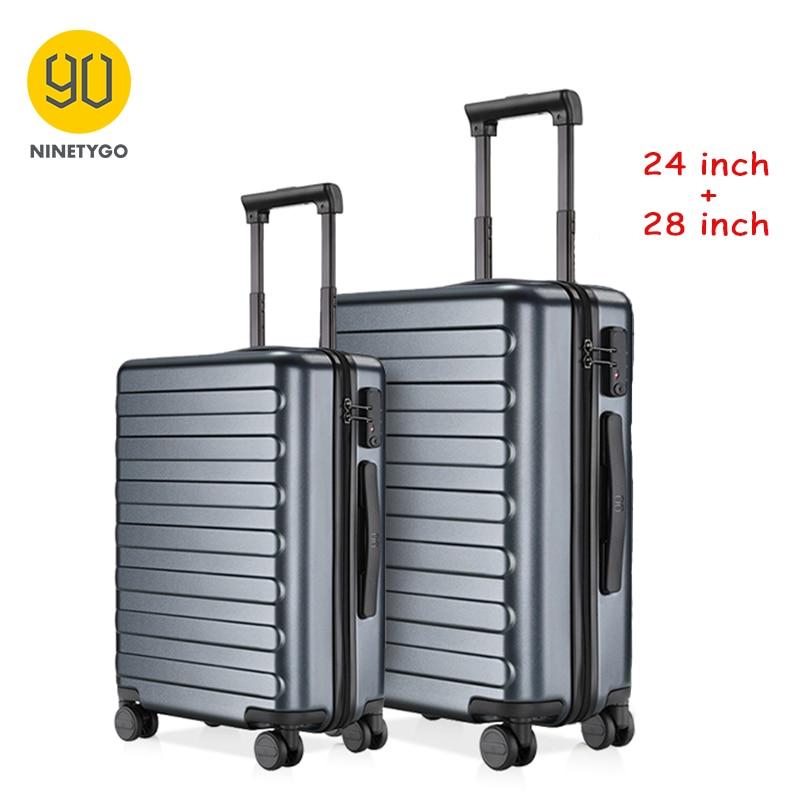 NINETYGO 90FUN 24 28 дюймов набор для переноски багажа Спиннер Легкий твердый чемодан с замком TSA для путешествий бизнес черный|Чемоданы с жёсткими стенками|   | АлиЭкспресс - Путешествие