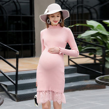 Maternity Dress Lace Knitted Sweater Ruffles Turtleneck Long-sleeved Autumn and Winter Bottoming Fashion Pregnancy