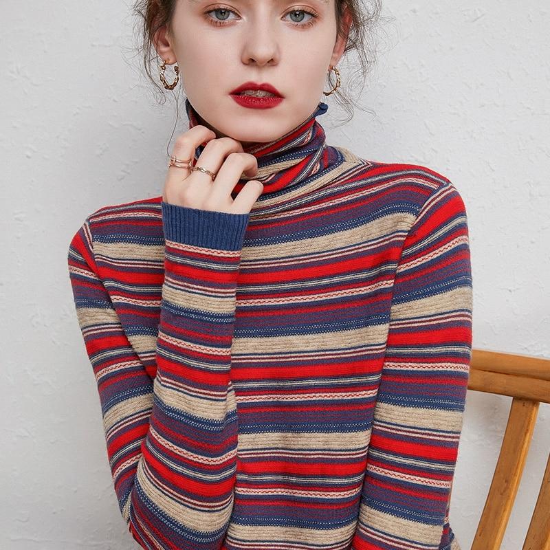 Водолазка кашемировый свитер женский Национальный Стиль параграф длинный рукав свитер хроматический цвет пуловер свитер