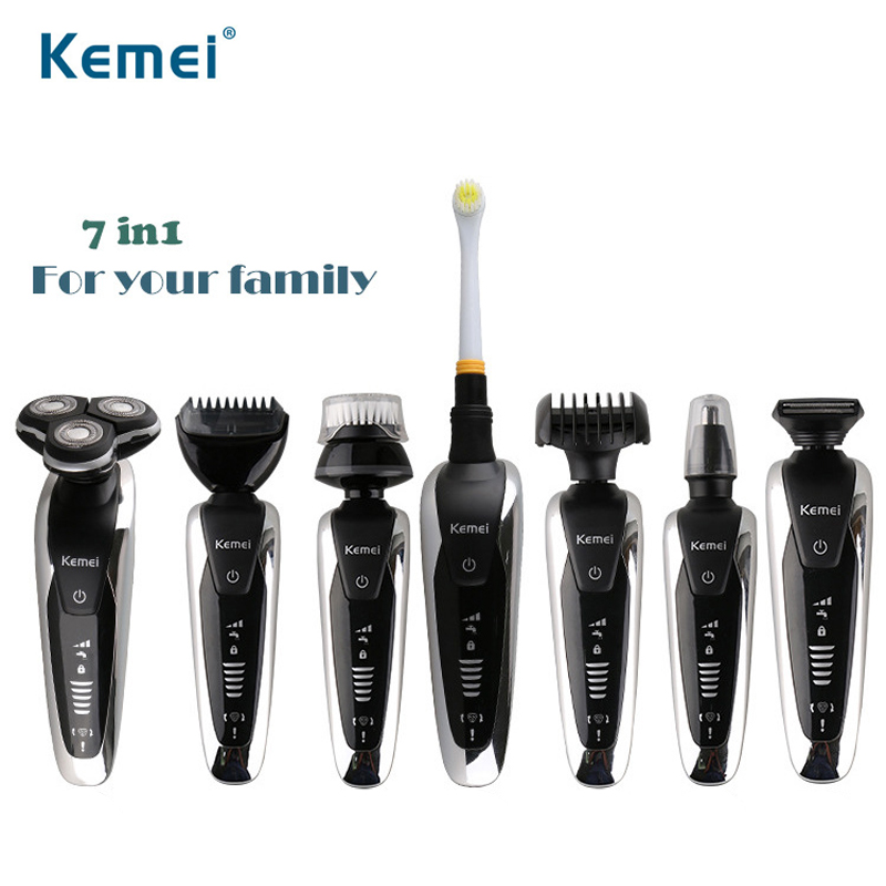 Men's Waterproof Electric Shaver Floating Triple Blade Razor Multifunctional Nose Trimmer And Toothbrush Personal Care Tools 35D