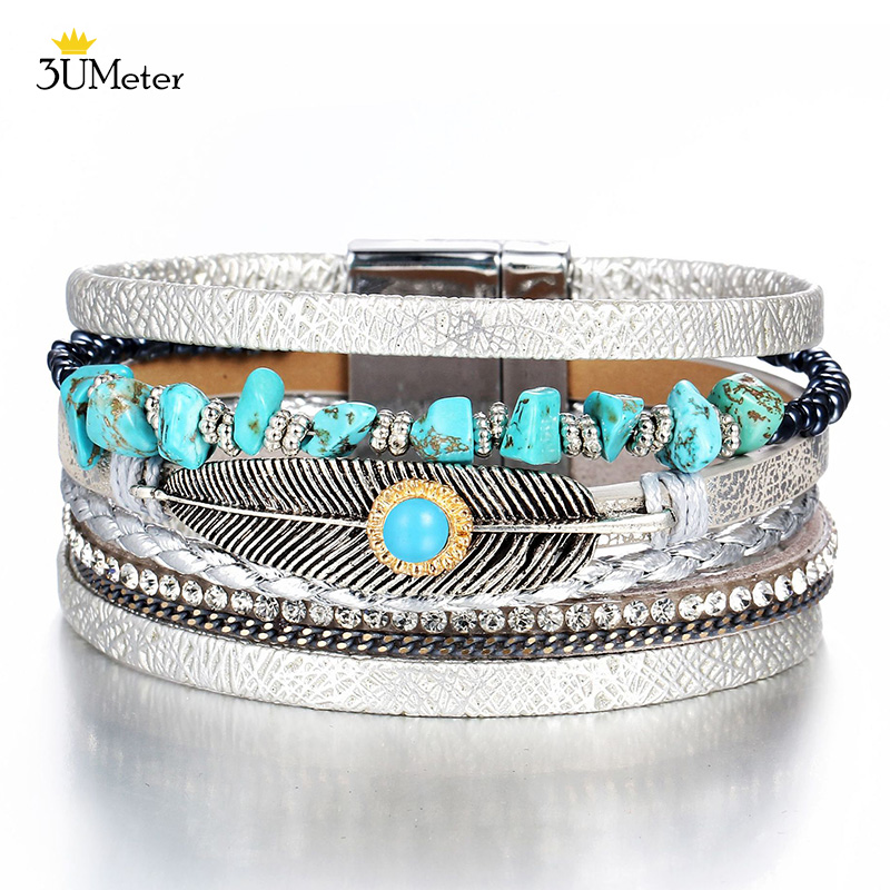 Women Bohemian Multilayer Leather Bracelet Rhinestone Beads Pearl Wrap Bangle