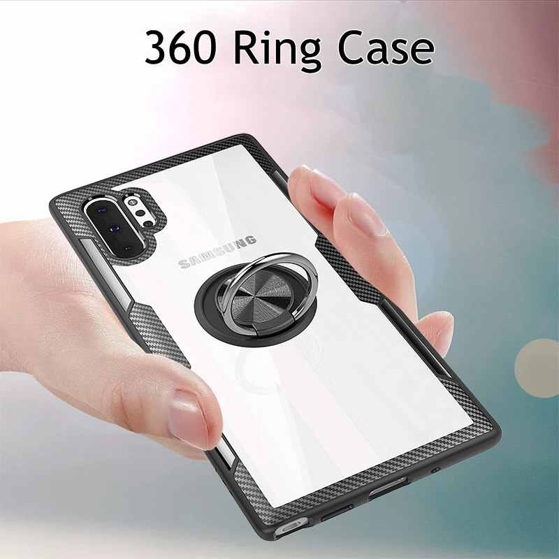 S10plus Magnetic Ring Case For Samsung Galaxy Note 10 pro S10 5G Note9 Clear Soft Silicone Cover For Samsug A50 A70 M20 A10 Case
