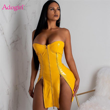 Adogirl Rits Vrouwen Sexy PU Lederen Jurk Sexy Strapless Bodycon Mini Night Club Party Jurken Vrouwelijke Mode Vestidos(China)