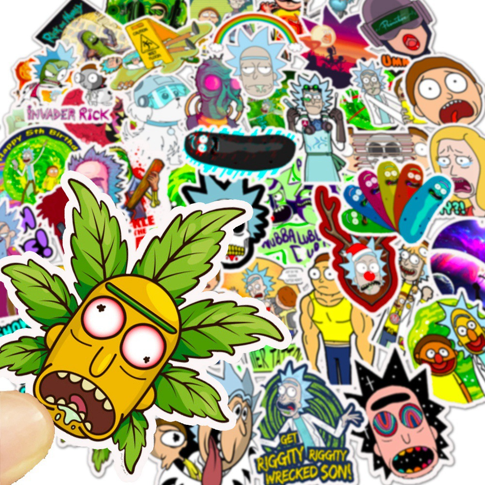 10/30/50pcs Cartoon Rick And Morty Stickers Waterproof Skateboard Travel Suitcase Phone Laptop Luggage Stickers Kids Classic Toy