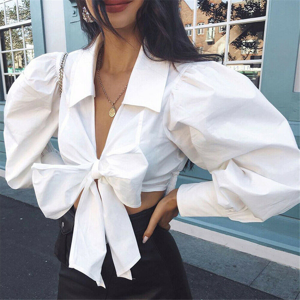 Fashion New Women Autumn Casual Long Sleeve   Blouse   Sexy Female Short   Shirt   Crop Top   Blouse   With Bow Femme Blusas Mujer de Moda