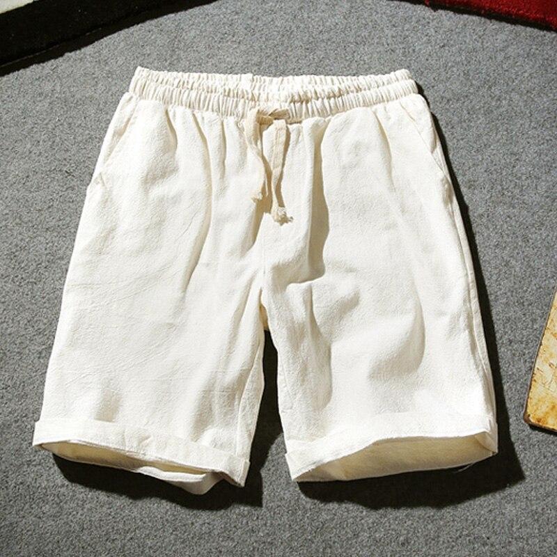 Droppshiping Mens Summer Shorts Cotton Linen Solid Drawstrings Waist Short Pants Casual J55