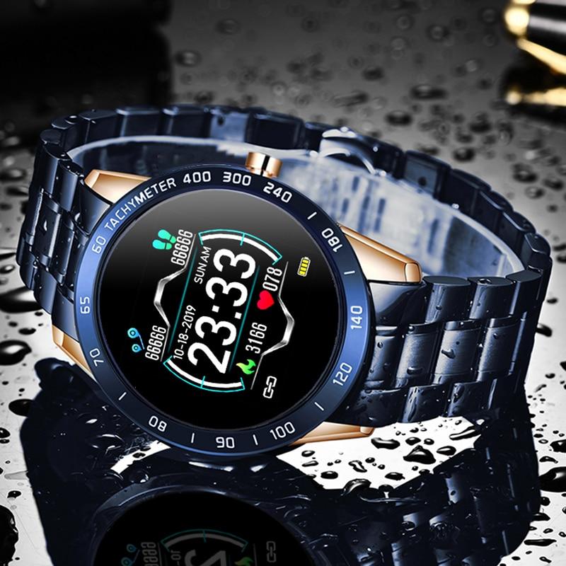 LIGE Steel Band Smart Watch Men Heart Rate Blood Pressure Monitor Sport Multifunction Mode Fitness Tracker