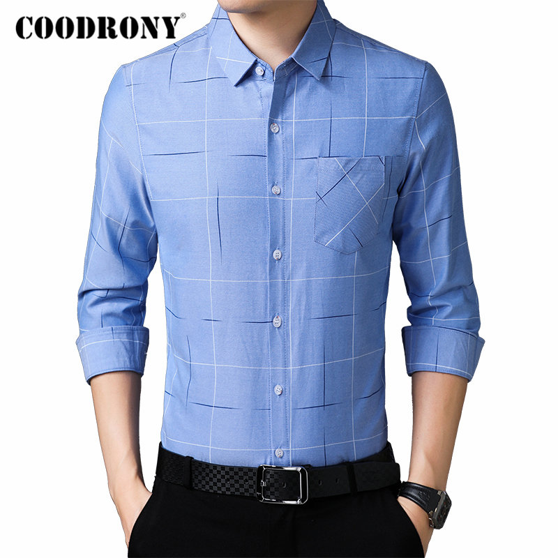 COODRONY Brand Men Shirt Streetwear Fashion Business Casual Shirts Long Sleeve Cotton Shirt Men Clothes Camisa Masculina 96094