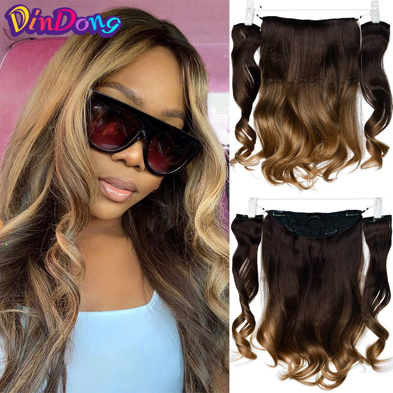 DinDong 18 inch Synthetic Flip in Hair Wavy Clip in Hair Extensions Natural Hair Pieces Real Hair Extensions with Fish Line