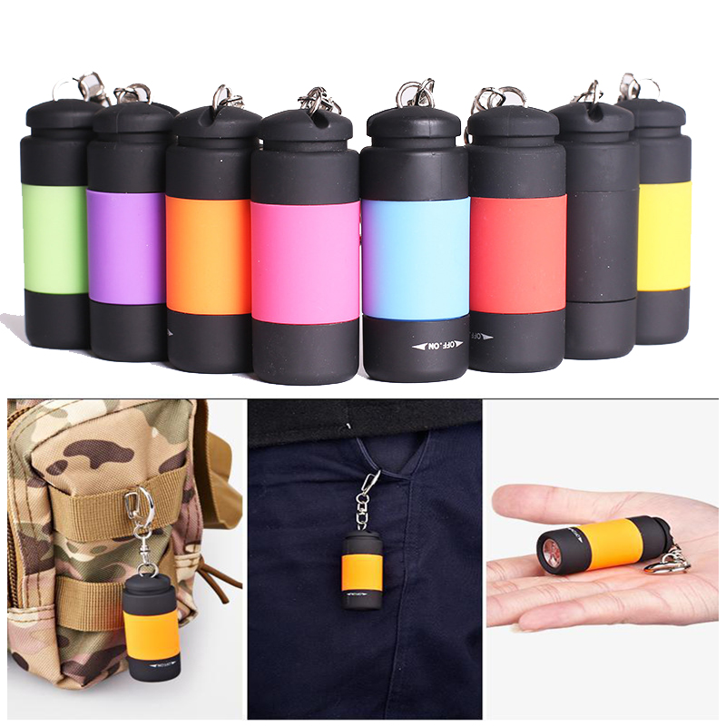Super Mini LED Light 0.3W 25Lum Portable Flashlight USB Outdoor Waterproof Rechargeable Keychain Torch Lamp Lights Multi-color