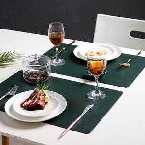 Image 5 - Leder Tischsets Waschbar Tisch Matte Tablemats Fleck Beständig Esszimmer Disc Schüssel Pad Coaster Nicht slip Dekoration Tisch Matte