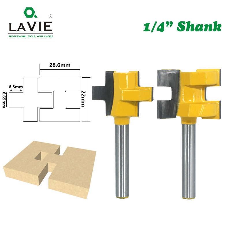 LA VIE 2pcs 1/4 Shank Carving Knife Square Tooth T-Slot Tenon Milling Cutter Router Bits For Wood Tool Woodworking MC01004