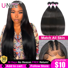 Lace Closure Hair Straight 3-Bundles 28-30inch 5X5 Peruvian Weave HD Unice with 4PCS