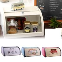 1PCS French Vintage Bread Box Kitchen Cupboard Snack Boxes Keeper Food Kitchen Container Galvanized Iron Snack Storage Boxes