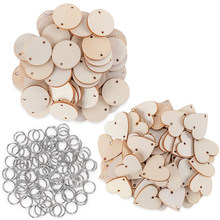 50pcs Wooden Circle Discs Tags with Holes Ring Clips for Birthday Reminder Calendar Chore Board Plaque DIY Decoration Art Crafts