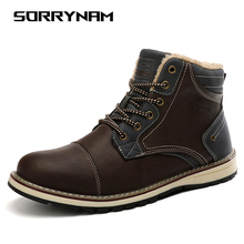 Brand Super Warm Mens Winter Boots Leather Men Rubber Snow Leisure England Retro Shoes For Size 39-45 Sorrynam