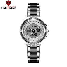KADEMAN السيدات الساعات الفاخرة الهدايا العلامة التجارية الأعلى LCD رجال الأعمال ساعة سوار الموضة الإناث المعصم الرقمية فتاة Relogio